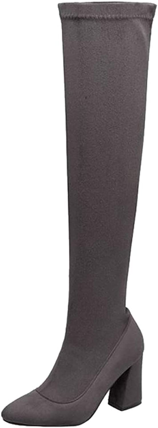 Onewus Women Chunky Heel Thigh High Boots