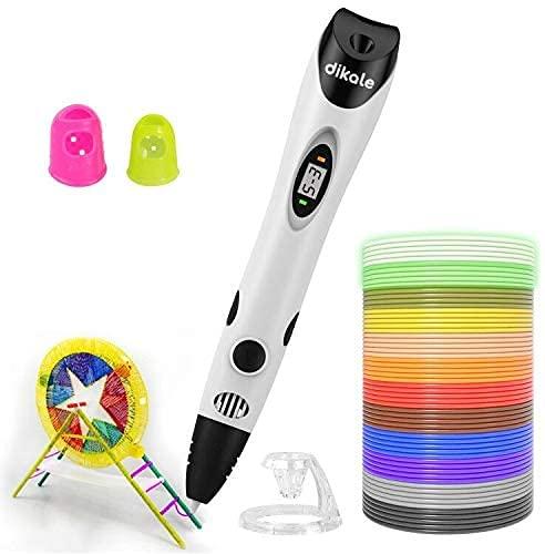 Dikale 3D Stifte mit 1.75mm PLA Filament 12 Farben - 3D Stift Set für Kinder mit PLA Farben und 250 Schablone eBook, 3d pen für Erwachsene, Bastler zu kritzeleien, basteln, malen