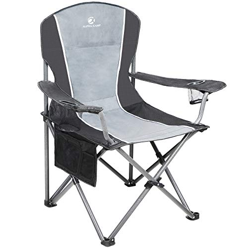 ALPHA CAMP Folding Camping Chair Heavy Duty Support 350 LBS Oversized Steel Frame Collapsible Padded Arm Chair with Cup Holder Quad Lumbar Back Chair Portable for Outdoor, Black Gray