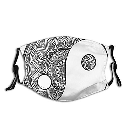 Mundschutz Mund Anti-Staub-Abdeckung,Traditional Asian Style Ying Yang Symbol with Highly Detailed Mandala Drawings,Mouth Cver Wiederverwendbare Fack-Abdeckung