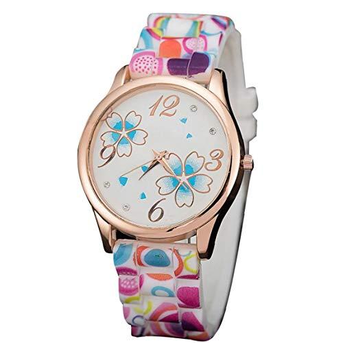 xiaocheng Patrón De Las Mujeres con Estilo De Flores Reloj De Pulsera Analógico Reloj De Cuarzo con Colorido Casual Silicona Brazalete del Reloj del Negocio De Azul Claro para Smart Relojes
