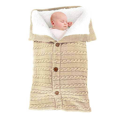 Newborn Infant Nursery Swaddle Blanket - Warm Cozy and Soft Knitted Fleece Blanket for Baby Boy and Girl - Cute and Useful Gift for Novice Moms Using in Strollers or Car Seat Khaki