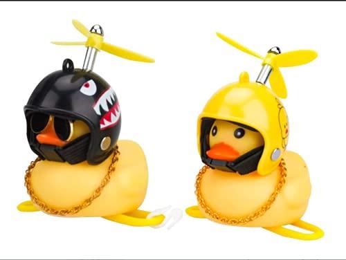 Aidou 2 piezas decoración del coche pato juguete tablero de goma LED pato para coche bicicleta adornos de coche (sacudida negra+pato amarillo)