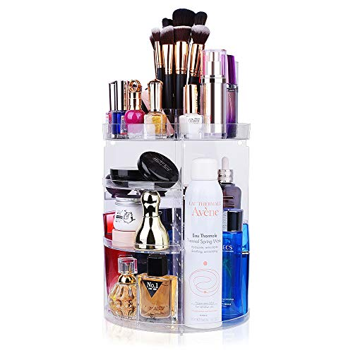 360 Rotating Makeup Organizer, chfine Large Capacity Detachable Spinning Cosmetics Organizer with 4 Layers, Lazy Susan Makeup Organizer for Skin Care Products Makeup Sets (Crystal Clear)