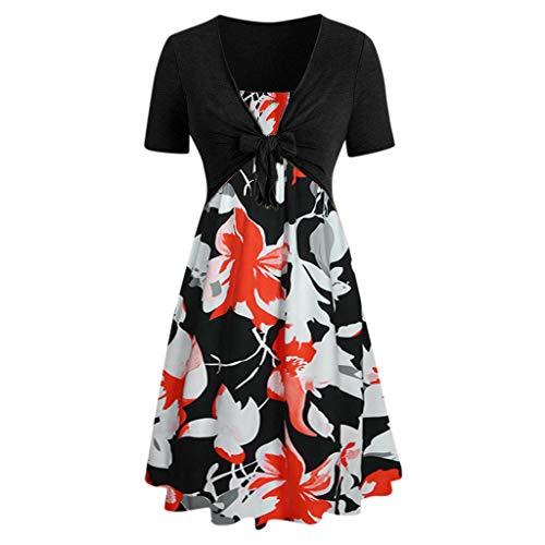 Mlide - Mini vestido de manga corta con estampado de girasol con lazo, venda en la parte superior, Casual, S
