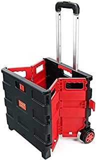 25kg Folding Shopping Trolley Storage Boot Cart Box (Red)