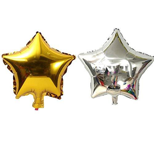 SFBBBO Globos de cumpleaños 10 Piezas Estrella de Cinco Puntas Globo Ducha Boda Fiesta de cumpleaños para niños Globos para niños Globos 10 Pulgadas 5pgold5psilver
