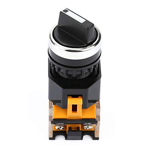 Selettore rotativo, manopola di selezione rotonda 22mm Selettore rotante impermeabile 2 posizioni NC + NO autobloccante