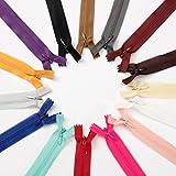 HEALLILY cremalleras de nylon cremallera de separación cremalleras metálicas de dientes en y para chaquetas costura abrigos artesanías 23pcs 25cm (color mixto)