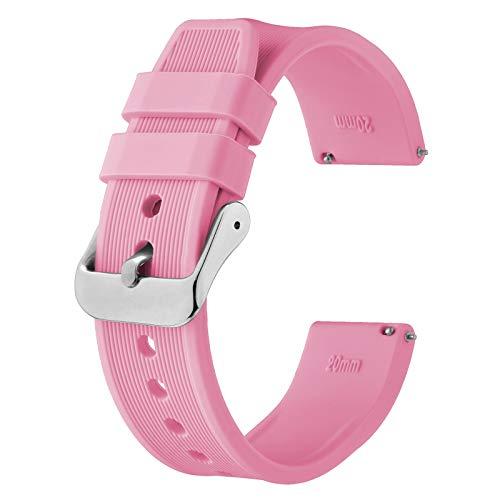 BISONSTRAP Correa de Reloj de Silicona 24mm, Correa de Repuesto de Goma de Liberación Rápida, Pulsera para Hombres y Mujeres (Rosa)