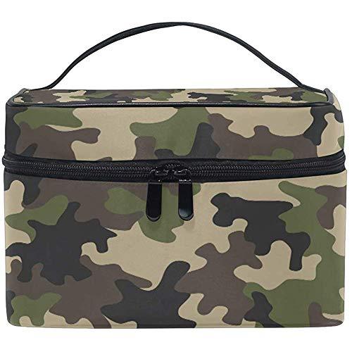 Grand sac de maquillage organisateur vert camo noir camouflage imprimé sac à cosmétiques sac de rangement de toilette poche zippée poche voyage brosse sac