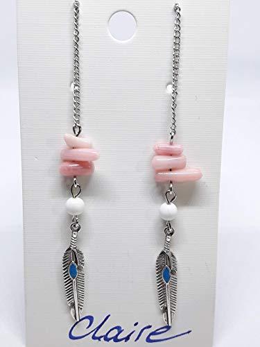 CLAIRE | Silberfarbene Gem.Chic Unikat Ohrringe Ohrhänger rosa Koralle weiße Alabaster Edelsteine | Silver earrings hangers rose coral white