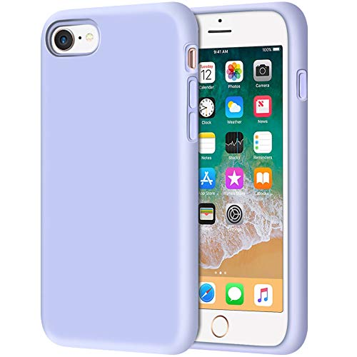 Anuck Case for iPhone SE 2020, iPhone 8 and iPhone 7, (4.7 inch), Non-Slip Liquid Silicone Gel Rubber Bumper Soft Microfiber Lining Hard Shell Shockproof Full-Body Protective Cover, Light Purple