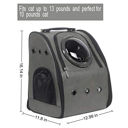 Texsens Innovative Traveler Bubble Backpack Pet Carriers Airline Travel Approved Carrier Switchable Mesh Panel for Cats and Dogs (One Size, Ash Black)