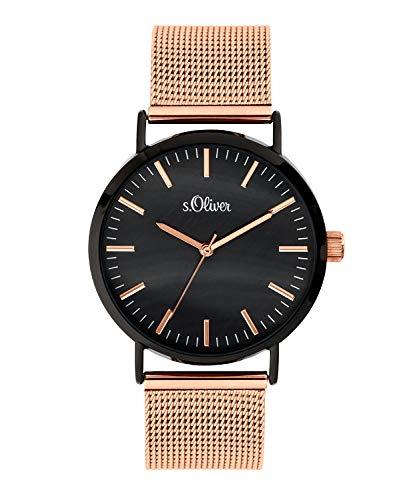 s.Oliver Damen Analog Quarz Uhr mit Edelstahl Armband SO-3668-MQ, Schwarz-IP Roségold