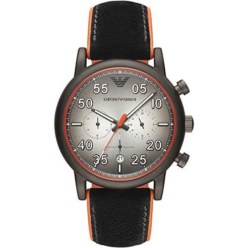 Emporio Armani Herren Chronograph Quarz Uhr mit Leder Armband AR11174