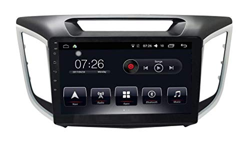 Auto Snap 9 Inch Full HD 1080 Touch Screen Double Din Player Android 10.1 Gorilla Glass IPS Display Car Stereo with GPS/Wi-Fi/Navigation/Mirror Link Compatible for Hyundai Creta 2015