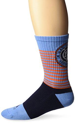 adidas Men's MLS SP17 Striped Team Color Crew Socks, Blue, Size 12-15