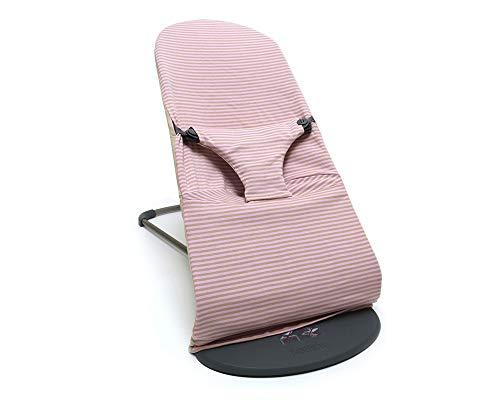 Blausberg Baby Bezug für BabyBjörn Balance Soft und Bliss Babywippe (Rosa/Beige gestreift) 100% Baumwoll-Jersey, OEKO-TEX® Standard 100 zertifiziert