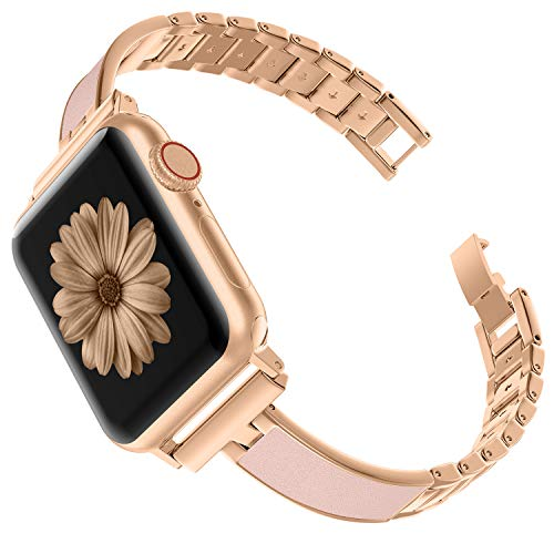 Ownaco Kompatibel für Apple Watch Series 5 Armband 44mm Rose Gold Edelstahl Metall Smartwatch Ersatzarmbänder Uhrenarmband Armbänder Ersatzband iWatch Series 3/2/1 42mm Bänder (42mm 44mm, Gold)