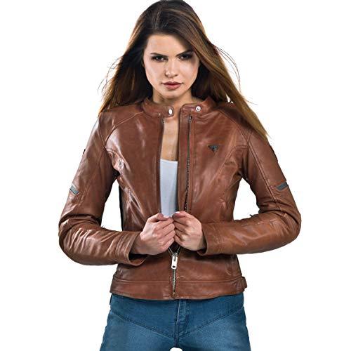 SHIMA Monaco Chaqueta para Moto, Mujer, Piel, Protector de Espalda, Vintage, Retro, Verano, con Protecciones, Marrón, L