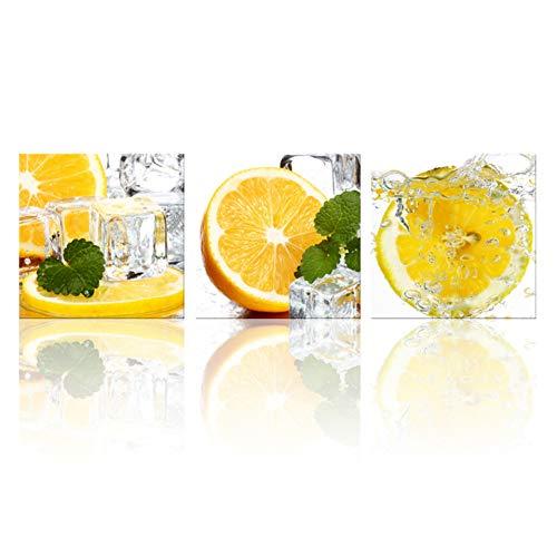 UDPBH 3 panelen muurkunst schilderkunst modern canvas fruit ijs munt limonade aanzicht wooncultuur woonkamer afbeelding Hd Print