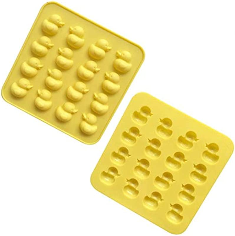 2 Pack Mini Rubber Duck Silicone Mold For Chocolate Candy Gummy Jello Ice Cube Polymer Clay Crayon Melt Biscuits
