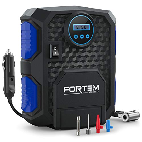FORTEM Digital Tire Inflator for Car w/Auto Pump/Shut Off Feature, Portable Air Compressor, Carrying Case (Blue)