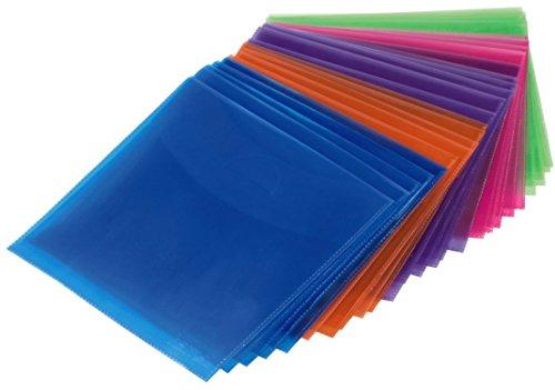 Hama Pochettes (pour CD-ROM/DVD-ROM, colorés, lot de 100) Bleu/Orange/Violet/Rose/Vert
