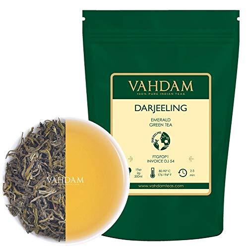 feuilles de thé vert émeraude Darjeeling (50 tasses) | Feuilles de thé vert pur | ANTI-OXYDANTS RICHES | Thé naturel de désintoxication, thé amincissant | Brew comme thé chaud ou thé glacé | 100gm