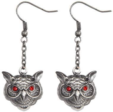 Pacific Trading Wise Owl Head Pewter Earrings Jewelry- Mystica Collection