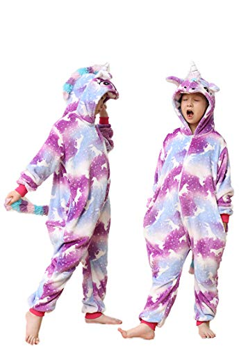 Unisex Children Hooded One Piece Sleepwear-Boy/Girl Animal Costume-Kids Unicorn Cartoon Onesie Cosplay Pajamas(Pegasus Purple-120)