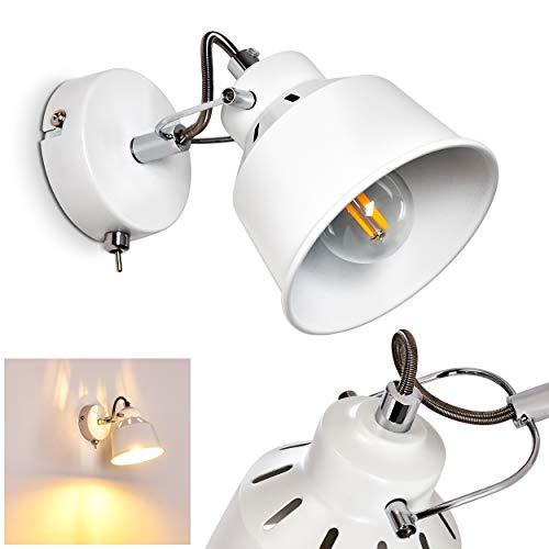 Wandlamp Safari, verstelbare metalen wandlamp in wit, 1 vlam, 1 x E14 fitting, max. 40 Watt, wandvlek in retro/vintage uitvoering, geschikt voor LED-lampen