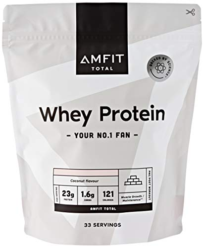 Marca Amazon - Amfit Nutrition Proteína de Suero de Leche en Polvo 1kg - Coco (anteriormente PBN)