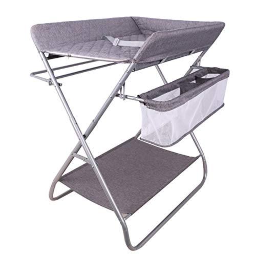 Table à langer bébé gris se pliant, station de bain nouveau-né pour petit espace, commode portable bambin 0-3 ans