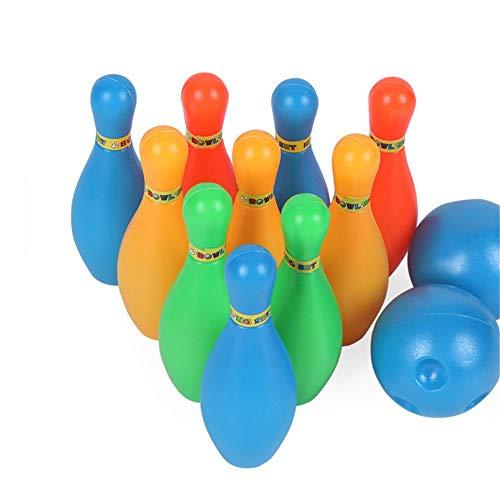 Xhtoe Bowlingspielzeug Kleine Bowling Spielzeug Set Spiel Bunte Kunststoff Bowlingkugel Pins Party Favors Kit Sport Kleinkind Lernspielzeug 12 Stücke Geschenk für Kinder Kinder