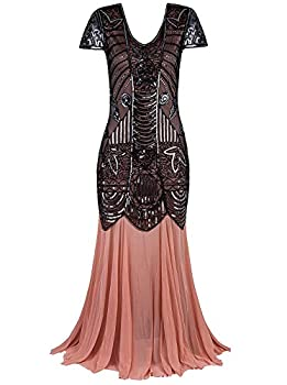 Vijiv 1920s Long Prom Gowns Sleeves Beaded Sequin Art Deco Evening Formal Dress,Black Beige,Medium