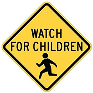 "Brady 124588 Traffic Control Sign, Legend ""Watch For Children"", 18"" Height x 18"" Width, Black on Yellow"
