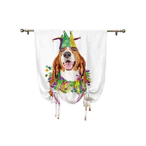 Mardi Gras - Cortina de amarre con diseño de perro con gorro de bufón, collar decorativo con aislamiento térmico, cortina opaca para ventana, 45 x 63 pulgadas, para decoración del hogar