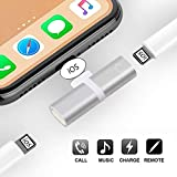 ProTVSolutions Adapter Compatible with iPhone 11 Pro/X/XR/XS/XSmax/8/7/6/6s Plus,Charging Cables Headphones Charger Splitter Adapter iPhone Headphone Jack Silver