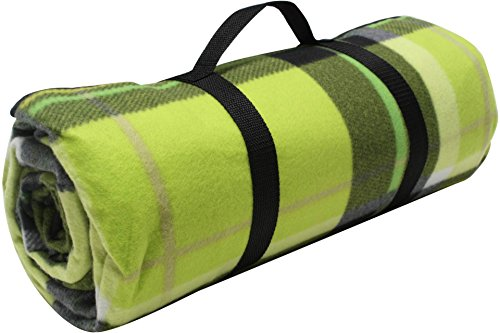 ADVENTURE OUTSIDE Picknick Decke XXL Fleece 200 x 200 cm Grün kariert Camping