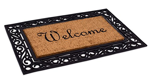 BirdRock Home Classic Welcome Brush Coir Doormat with Black Rubber Scroll Border, 24 x 36 Inch - Elegant Design