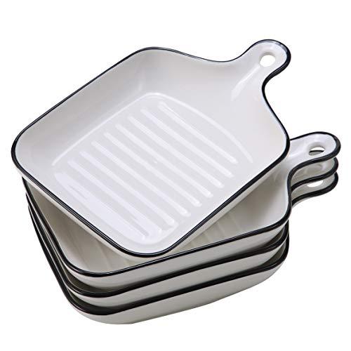 EAMATE Ceramic Baking Dish, 6.5' Individual Lasagna Baking Dish with Handle, Small Shallow Baking Pan, Oven Safe, Set of 4