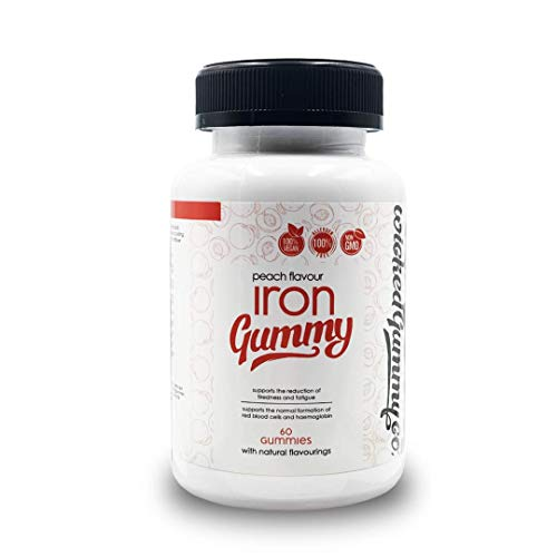 Wicked Gummy Co Iron Gummies | Peach Flavour | Vegetarian & Vegan | Daily RDI of Iron per Serving | Non-GMO | Tackles Fatigue | Supports Red Blood Cells & Haemoglobin | 1 Month Supply - 60 Gummies