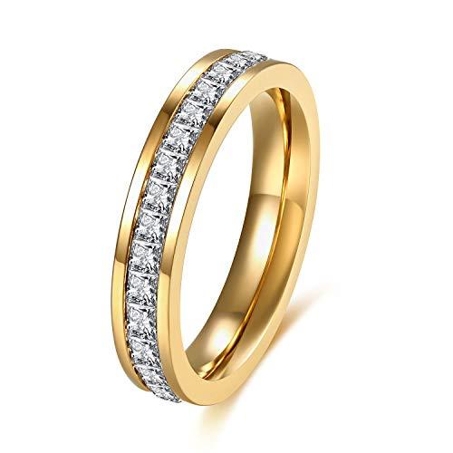 SFK (シフク) ジルコニア リング レディース 婚約 結婚 指輪 幅 3mm シルバー ピンクゴールド ピンキーリング 可愛い (ゴールド, 9)