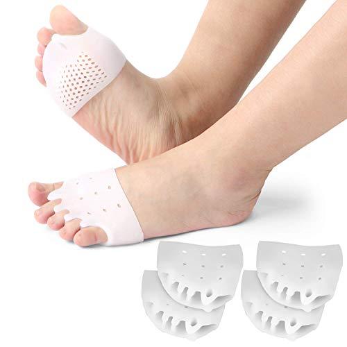 2 paia di separatori per dita dei piedi in gel per metatarso, raddrizzatore per dita sovrapposte, correttore dell'alluce valgo, sollievo dal dolore dell'avampiede