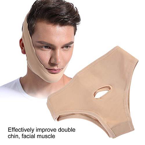 Mascarilla para adelgazar la cara en forma de V, máscara para el cuello de belleza 2 tamaños Unisex delgado Rejuvenecimiento facial con anti-doble barbilla reducir el vendaje de la(M)