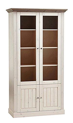 PEGANE Vitrine Coloris Blanc - Dim : 190 x 104 x 47 cm