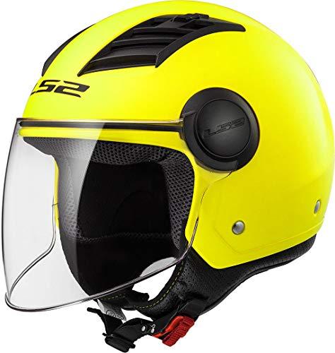 LS2 - Casco de moto jet Airflow solid amarillo