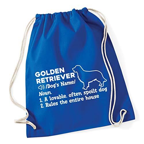 Hippowarehouse PERSONALISED Golden Retriever Definition Drawstring Cotton School Gym Bag 37cm x 46cm, 12 litres